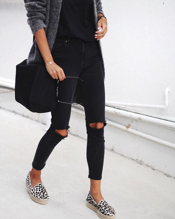 leopard with black outfit