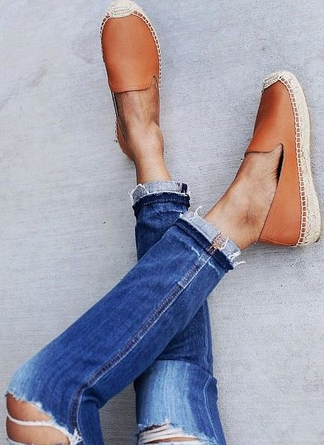 tan and vintage blue frayed denim
