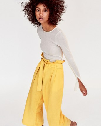 yellow zara trousers