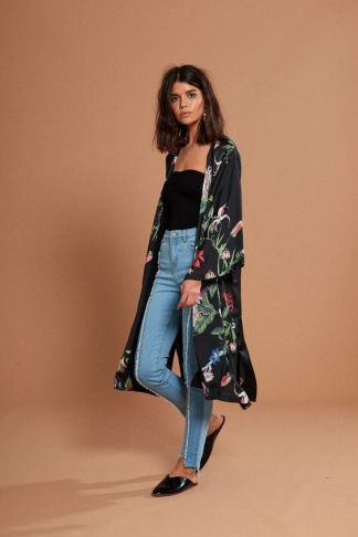 neon rose long kimono