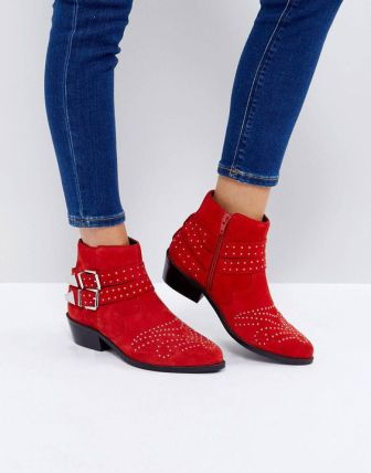 asos red boots studded