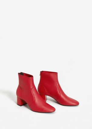 mango red leather boots